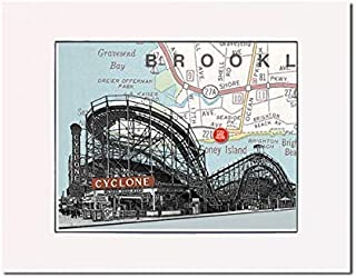 Roller Coaster, Historic Coney Island Cyclone. Matted at 14 inch x 11 inch fine art print. Matted and ready-to-frame. Gallery quality.
