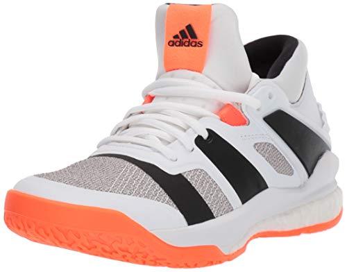 adidas Men's Stabil X Mid Volleyball Shoe, White/Black/Solar Orange, 11.5 M US