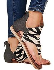 Porfeet Damessandalen, modieus, zomer, luipaard, slang, zebraprint, ritssluiting, strandsandalen, platte schoenen