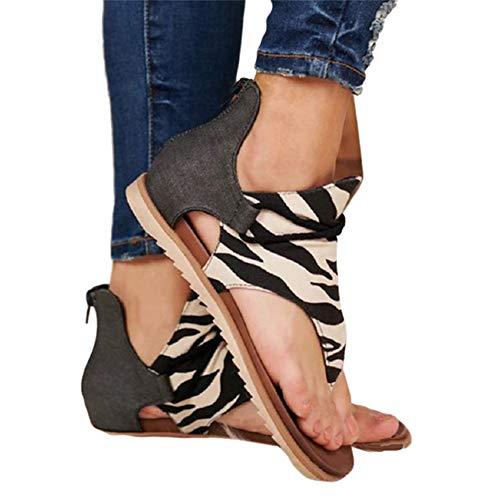 fuchsiaan Mujer Moda Verano Leopardo Serpiente Estampado De Cebra Cremallera Sandalias De Playa Zapatos Planos Blanco Estampado de Cebra 42