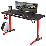 Vitesse 55 inch Gaming Desk, Gaming Computer Desk, PC Gaming Table, T Shaped Racing Style Proitessfessional Gamer Game Station with Mouse pad, USB Gaming Handle Rack, Cup Holder Headphone Hook