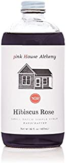 Pink House Alchemy Hibiscus Rose - Simple Syrup 16 oz Cocktail Drink Mix - Use to Flavor Coffee - Hawaiian Shaved Ice - Dessert Topping - Using Only Fresh Flowers (HR 16)