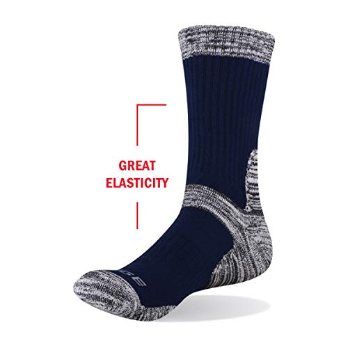 YUEDGE 5 Pairs Mens Walking Socks Cushion Crew Socks Multi Performance Trekking Climbing Camping Hiking Mens Outdoor Socks, L (Men Shoe 6-9 UK Size), Black/Grey/Dark Grey/Olive Green/Dark Blue