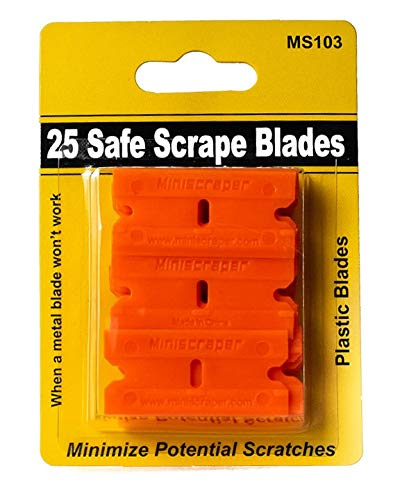 miniscraper 25 Plastic Razor Scraper Blades Double Edge Safe Scrape for Removing Labels Decals Stickers on Glass and Counter top and More 25 Pack
