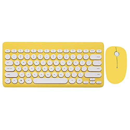 WHQ 2,4 G USB Wireless Gaming Tastatur Maus Combo Runde Taste Tastatur Silent Mouse für MacBook Lenovo Dell Asus HP Laptop-Computer,Gelb