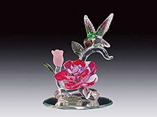 DAR Giftware Blown Glass Hummingbird and Flower Figurine Collectible 4 Inches Tall