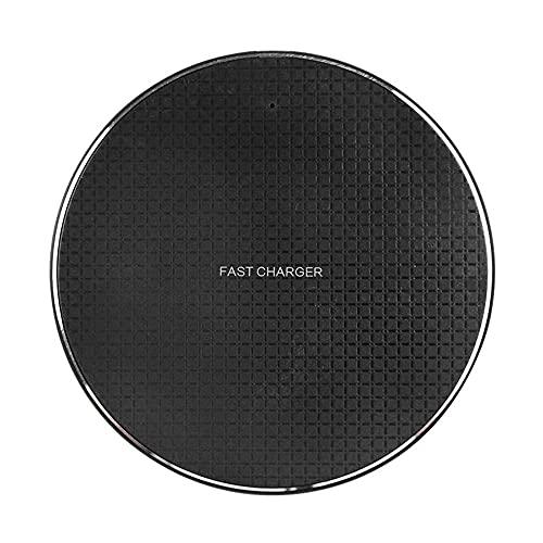 Puwind Cargador inalámbrico QI 15W Fast Charging Pad Round Negro/Blanco Para Apple IOS/Android Aleación Plaid Patrón antideslizante Cargador Pad Negro