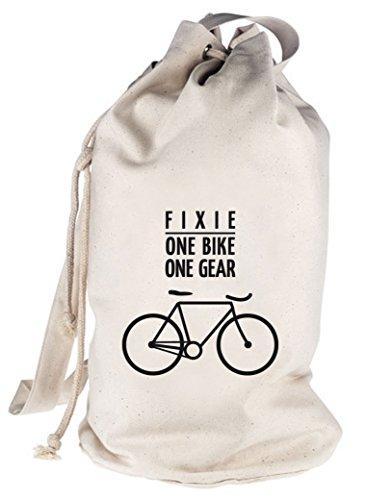 Shirtstreet24 Fixie - One Bike, Singlespeed Fahrrad bedruckter Seesack Umhängetasche Schultertasche Beutel Bag, Größe: onesize,natur