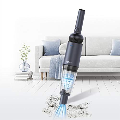 MAXXMEE Handstaubsauger mit saugstarken BLDC-Motor | Saugkraft bis zu 11 kPa, Leistungsstarker 2.000 mAh Li-Ion Akku | HEPA-Filter, 520g Gewicht [Inkl. Fugen-, Bürsten- und Verlängerungsdüse]