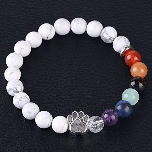 Stone Bracelet,Vintage Gothic Unisex 7 Chakra Natural Beads Adjustable Bangle Silver-Color Bear Paw Crystal With White Turquoise Stone Beaded Bracelets For Women Birthday Party Men Friend Gift