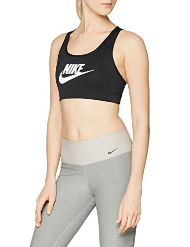 Nike Swoosh Futura Bra Sujetador Deportivo, Mujer, Negro/Blanco, S