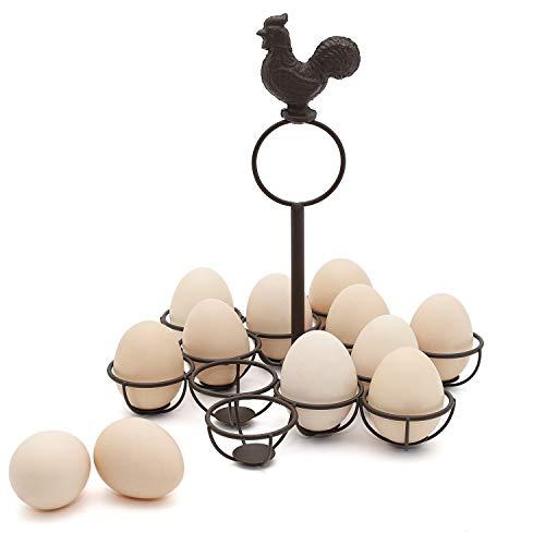 ChasBete Rustikale Eierkorb,Vintage Eierhalter, Bauernhaus Eierschrank für das Sammeln von Frischen 12 Eiern