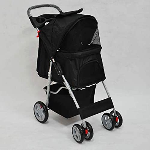TETHYSUN Cochecitos de perro para perros pequeños, cochecito de mascotas 4 ruedas, elegante, plegable, impermeable, portátil, viaje, con portavasos (color negro)