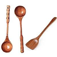木材、木製の調理スプーン、ベーキングへら、ベストのための非スティッキーフライパン、調理器具から設定された3つの小品エコフレンドリー調理器具ツール