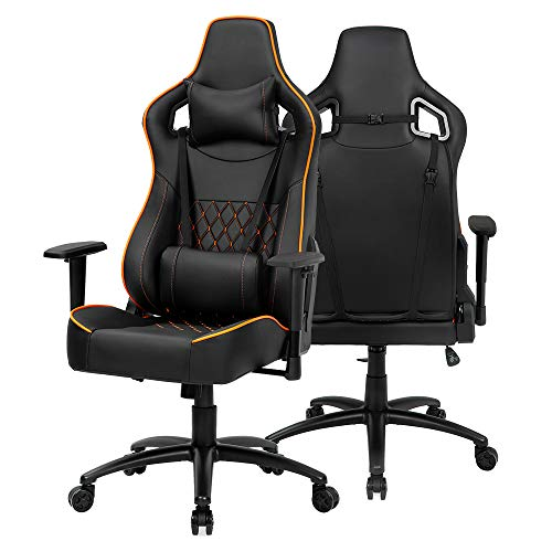 DKLGG Gaming Chair Racing Office Chair, High Back Racing Office Chair PU Leather Adjustable Swivel Computer Task Chair with Headrest Lumbar Support Cushion, Black and Orange black chair gaming