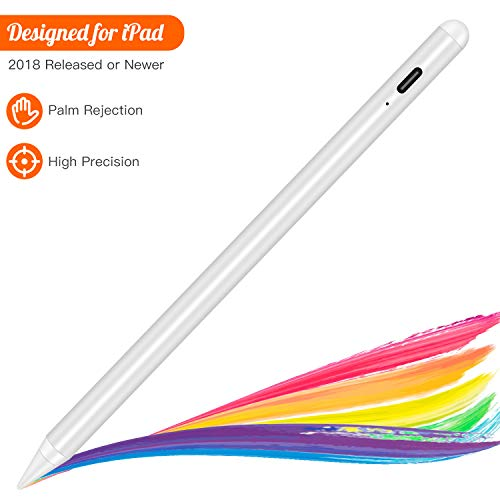 Mixoo Stylus Pen for Apple iPad, Capacitive Rechargeable Digital iPad Pencil with Palm Rejection and Fine Tips Compatible with iPad 6/7th Gen/Air 3rd Gen/iPad Pro 11/12.9/iPad Mini 5th Gen (White)