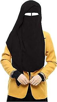 bonballoon Black XL Long Saudi Layered Niqab Niqabs Nikab Naqaab 3 Layers Burqa Hijab Hijab Face Cover Veil Islam Islamic Dress Clothing for Muslim Women Womens Abaya Jilbab Dress
