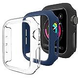Wanme 3 Pack Funda Compatible con Apple Watch 44mm 42mm 40mm 38mm, Carcasa Protectora de Fundas Rígida de PC Anticolisión [Sin Protector de Pantalla] para iWatch Series SE 6 5 4 3 2 1