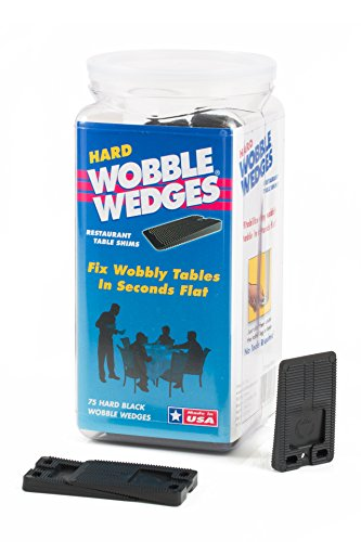 WOBBLE WEDGES Stackable Interlocking Multi-Purpose Leveling Shims  Hard Black Plastic  75 Pack  Level Furniture, Restaurant Tables, Appliances, Plumbing Fixtures, Tables, Fountains, and More