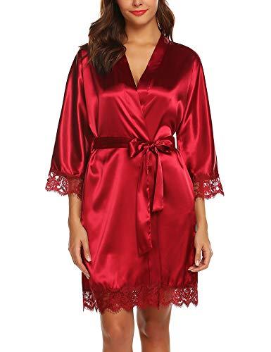 BESDEL Damen Satin Robe Brautkleid Brautjungfer Kimono Nachtwäsche Rot XS