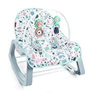 Portable baby seat and rocking chair for use from infant to toddler (up to 40 lb/18 kg) Two recline positions and removable toy bar with two bat-at toys Calming vibrations help soothe your baby Fold-out kickstand for stationary seating  Machine...