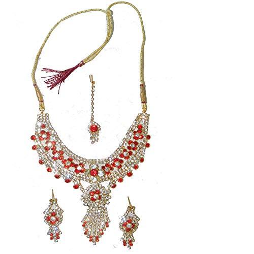 Bollywood Set Nargis rot goldfarbige Fassung mit Bangles und Bindis Schmuck Set Accessoire
