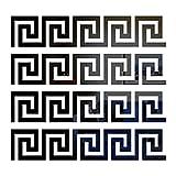 MicButty 20 adesivi da parete a specchio, motivo chiave geometrica greca a specchio, adesivi da parete, per camera da letto, soggiorno, 160 x 160 mm, colore: nero
