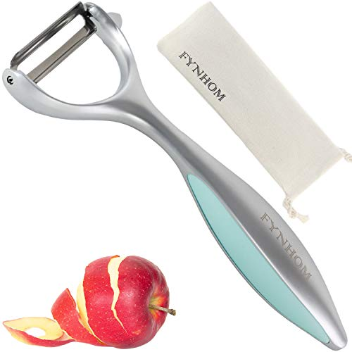 Premium Swivel Vegetable Y-Peeler for Kitchen - Zinc Alloy Ultra Sharp Blade, Comfortable Ergonomic Handle, Dishwasher Safe - Peeler for Potato, Carrot, Apple- (Silver and Cyan)- By FYNHOM