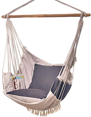 Bdecoru Hanging Hammock Chair Large Swing Chair | Sitting and Reclining Positions | 2-Layer Fabric for Extreme Durability | 2-Tone Beige and Gray Plus 2 Cushions and Side Pocket | Indoor/Outdoor Use