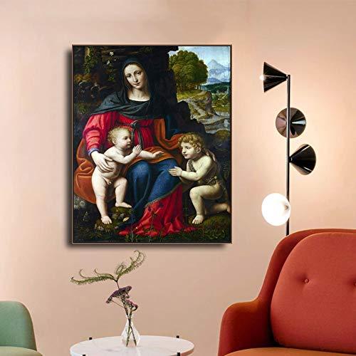 hetingyue Art Mural Classique Vierge à l'enfant et Saint John Affiche Imprime Toile Peinture décoration de la Maison Salon décoration sans Cadre Peinture 45x60 cm