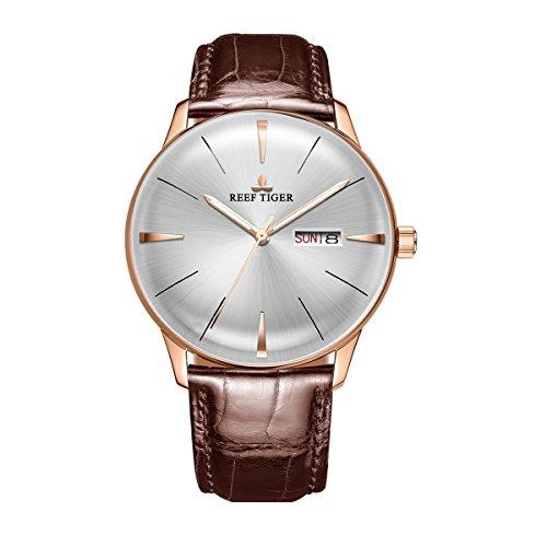 REEF TIGER Herren Uhr analog Automatik mit Leder Armband RGA8238-PWS