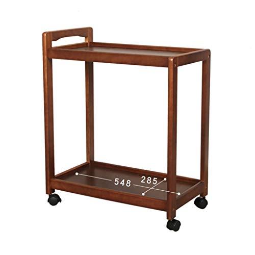 Tables basses Chariot à thé Voiture-Restaurant Mobile en Bois Massif Chariot sur Chariot à Deux Niveaux (Color : Brown, Size : 59 * 35 * 73cm)