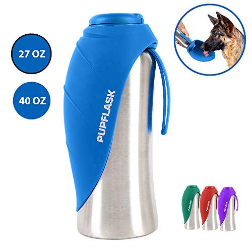 PupFlask Portable Water Bottle | 27 or 40 OZ Stainless Steel | Convenient Dog Travel Water Bottle Keeps Pup Hydrated | Portable Dog Water Bowl & Travel Water Bottle For Dogs