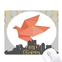 折り紙の赤い鳥の抽象的なパターン クリスマスイブのゴムマウスパッド