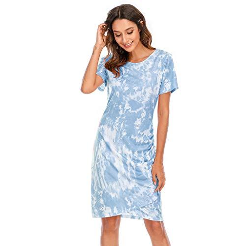 EUCoo Vestido midi de manga corta para mujer, estilo casual, holgado, para la playa