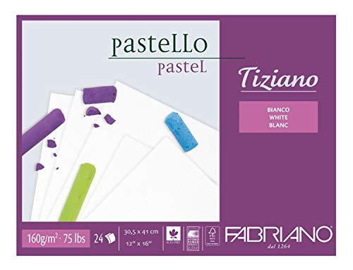 Honsell 46430541 - Fabriano Tiziano Pastellblock Weiß, 30,5 x 41,0 cm, 24 Blatt, 160 g/m², hoch hadernhaltig, säurefrei und alterungsbeständig, griffige, raue Oberfläche