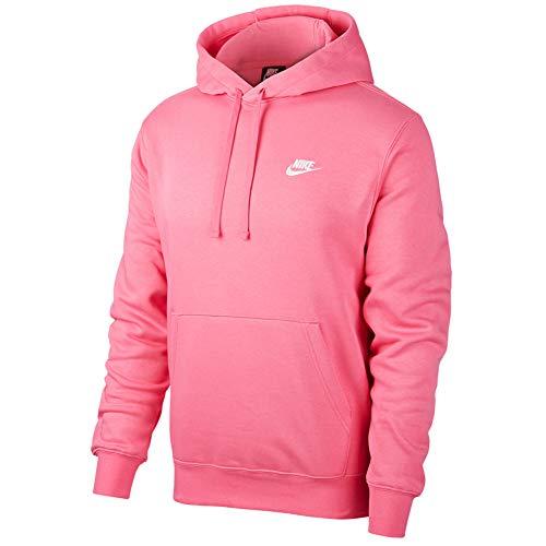 NIKE M NSW Club Hoodie Po BB Sweatshirt, Hombre, Pinksicle/ Pinksicle/ White, L
