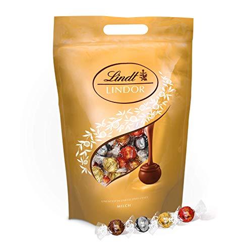LINDOR Beutel Mischung, Großpackung, Auswahl an einzeln verpackten Schokoladen-Kugeln mit zartschmelzenden Füllungen (Vollmilch, Weiß, Dark und Haselnuss) – ca. 160 Kugeln, 1er Pack (1 x 2kg)
