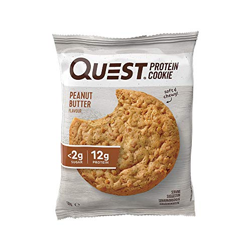 Quest Nutrition Peanut Butter Protein Cookie, High Protein, Low Sugar, High Fibre, Keto Friendly, 12-Count