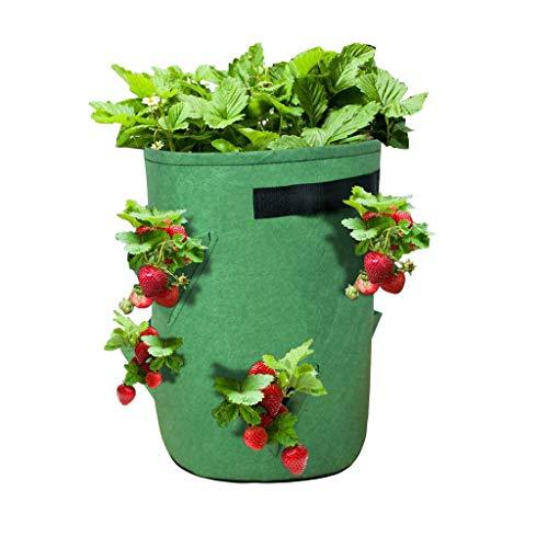 Erdbeer Pflanzer Pflanzensack Pflanzbeutel mit Griffen, Pflanzen Taschen Atmungsaktiv wiederverwendbar Beutel Gemüse Grow Bag Pflanzen Tasche für Pflanzen Kräutern Tomaten etc (A)