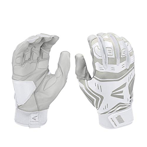 EASTON VRS POWER BOOST Batting Glove   Pair   Baseball Softball   Adult   Medium   White / Grey   2020   VRS Pad Reduces Vibration & Blisters   Tacky Palm   Flexible Lycra   Comfort Neoprene Strap