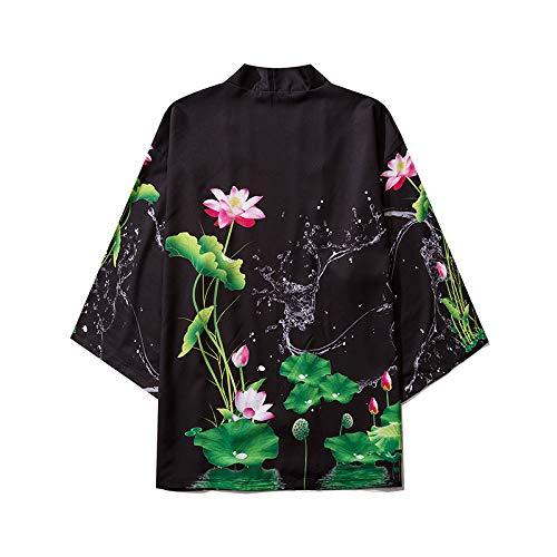 Haori Damen-Jacke, elegant, bedruckt, Kimono, Cardigan, Mantel, Tops, Bluse, Überzug für Paare, Schwarz-M