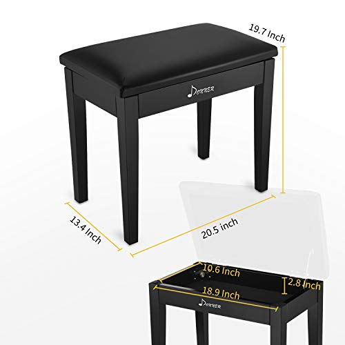 Donner Piano Bench with Storage for Music Sheet, Padded Cushion Keyboard Stool Chair Vanity Seat, Black