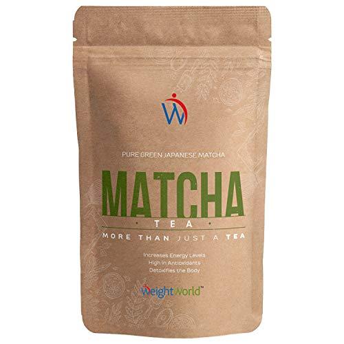Matcha Green Tea | Té Matcha Vegano | Polvo de Té Natural | Dieta Detox Para Adelgazar | Con Vitamina A, K y E | Para la bebida o la comida | Sin gluten y sin Lactosa | WeightWorld