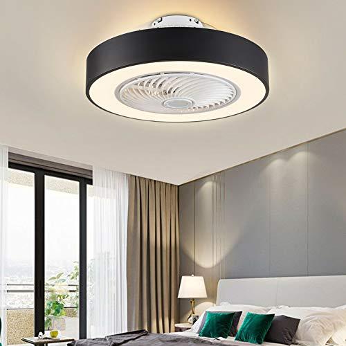 Ventilador de techo de 22 pulgadas con iluminación LED, lámpara de techo de acrílico,lámpara de techo ultrasilenciosa, con temporizador, 3 velocidades, 3 colores de luz con mando a distancia