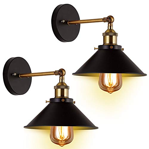Mrdsre 2 Packs Loft American Retro Light Wall Wall smeedijzer Deksel Modern Wandlamp Loft Industrial Verstelbare Swing Arm Retro wandlamp lichtpunt for Restaurant Bar Cafe Aisle Balkon