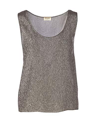 Luxury Fashion | Saint Laurent Dames 606943Y3A601081 Zilver Zijde Tanktops | Lente-zomer 20