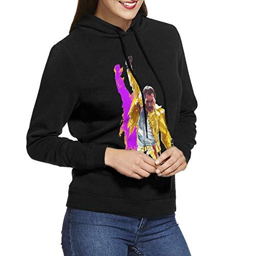 Kmehsv Mujer Sudadera con Capucha, Womens Hoodie Freddie Mercury Women's Hooded Sweatshirt Black