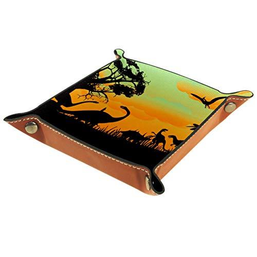 ATOMO Bandeja de almacenamiento de cuero con diseño de dinosaurios, árbol de puesta de sol, llaves, monedas, organizador para mesita de noche