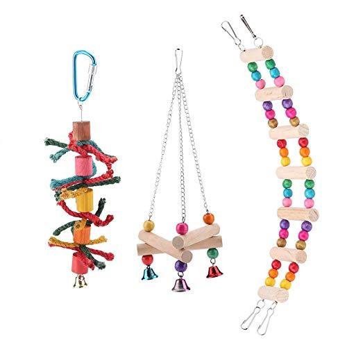 TOPINCN Parrot Toys Parrot Columpio De Pie Puente Colgante Cuerda De Cáñamo Juguete Triángulo Soporte Rack Colgando Escalera Chewing Swing Cage Accesorio 3 Unids/Set